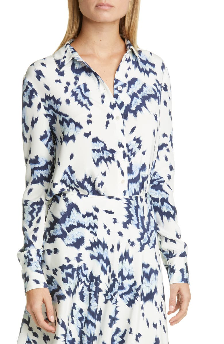 ST. JOHN COLLECTION Painted Butterfly Print Crêpe de Chine Shirt, Main, color, WHITE MULTI