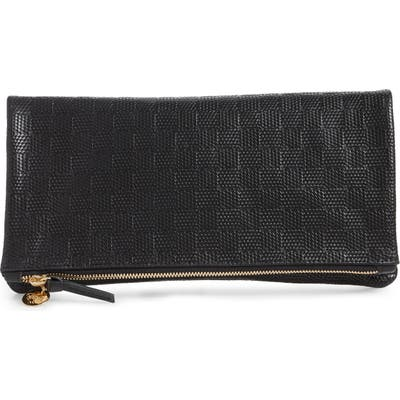 Clare V. Embossed Leather Foldover Clutch - Black