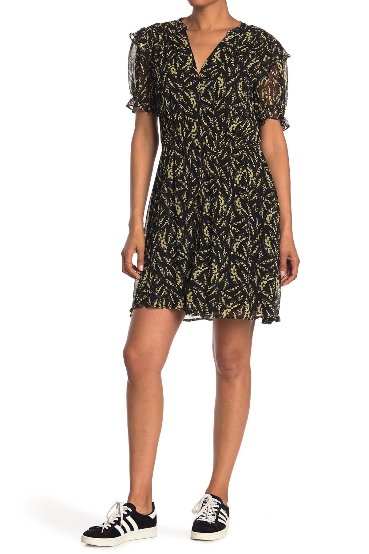 Image of ba&sh Matcha Printed Puff Sleeve Dress