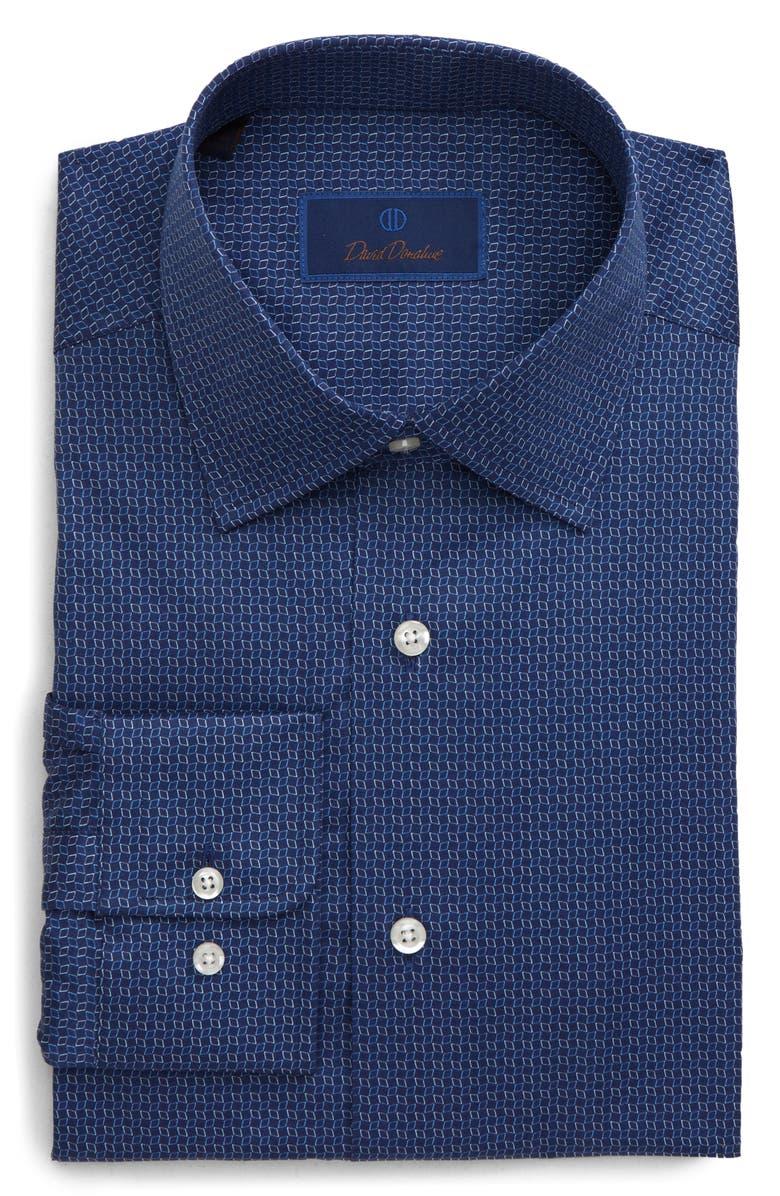 DAVID DONAHUE Regular Fit Diamond Dress Shirt, Main, color, NAVY
