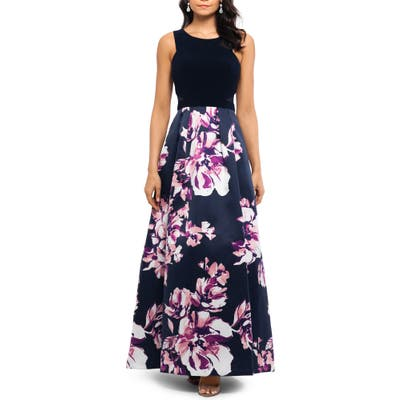 Xscape Floral Evening Dress, Blue