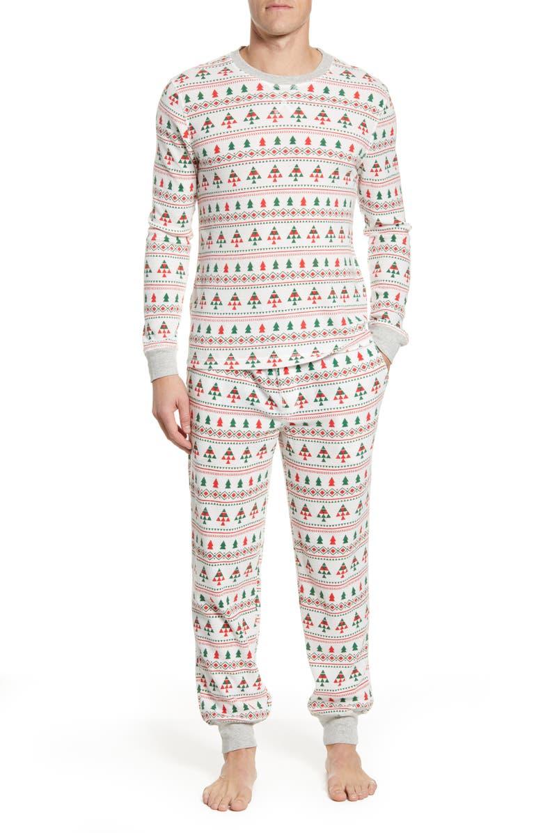 NORDSTROM MEN'S SHOP Pajamas, Main, color, IVORY EGRET FAIRISLE