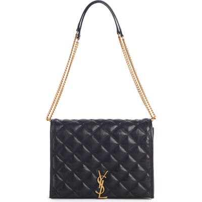 Saint Laurent Small Becky Quilted Lambskin Leather Shoulder Bag - Black