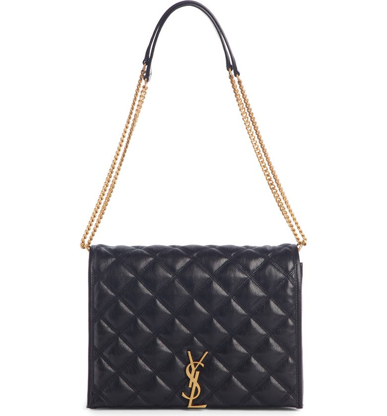SAINT LAURENT Small Becky Quilted Lambskin Leather Shoulder Bag, Main, color, NOIR