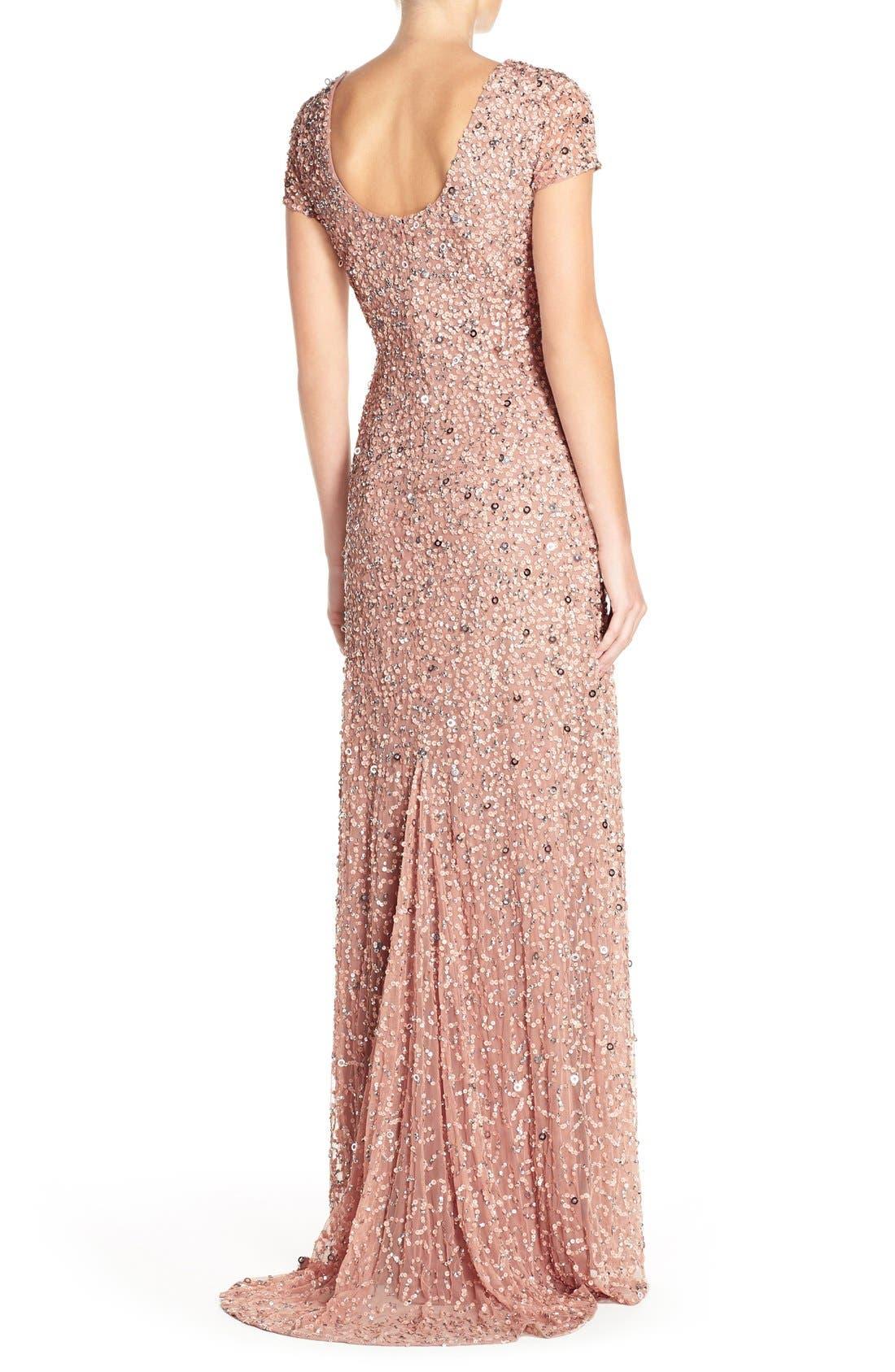 ,                             Short Sleeve Sequin Mesh Gown,                             Alternate thumbnail 58, color,                             691