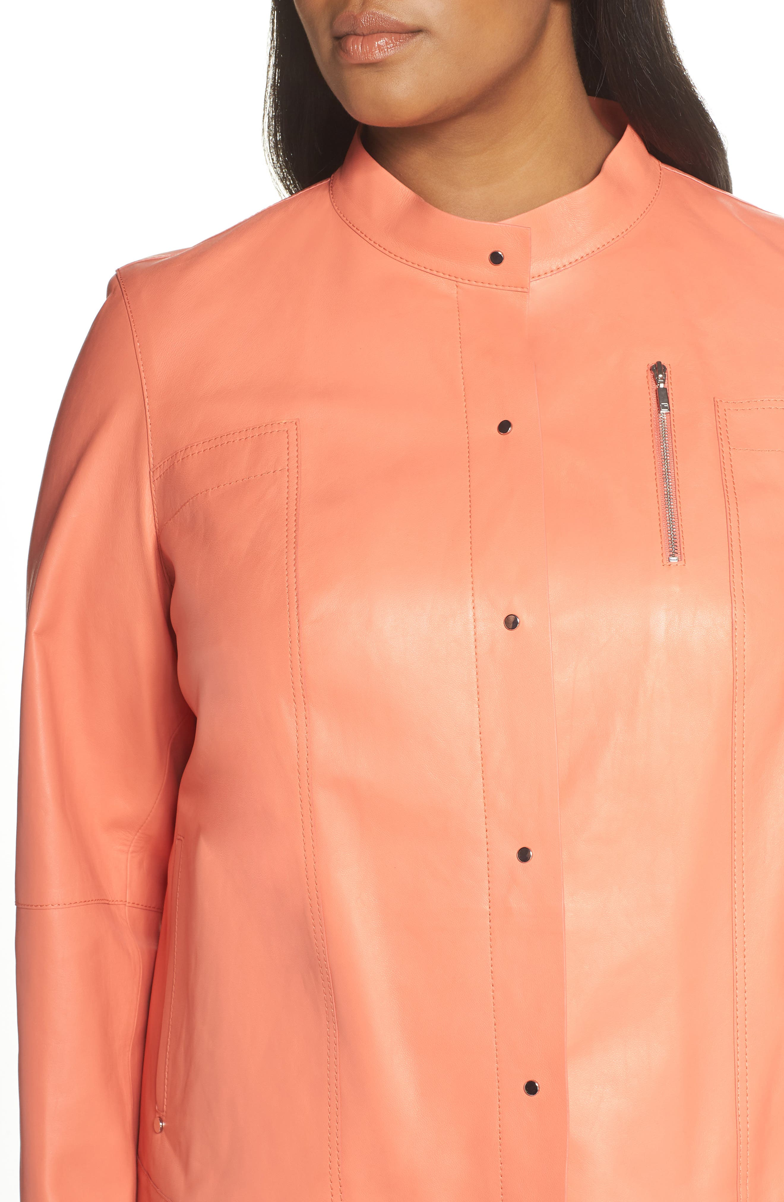 ,                             Galicia Leather Jacket,                             Alternate thumbnail 4, color,                             PEACH ROSE