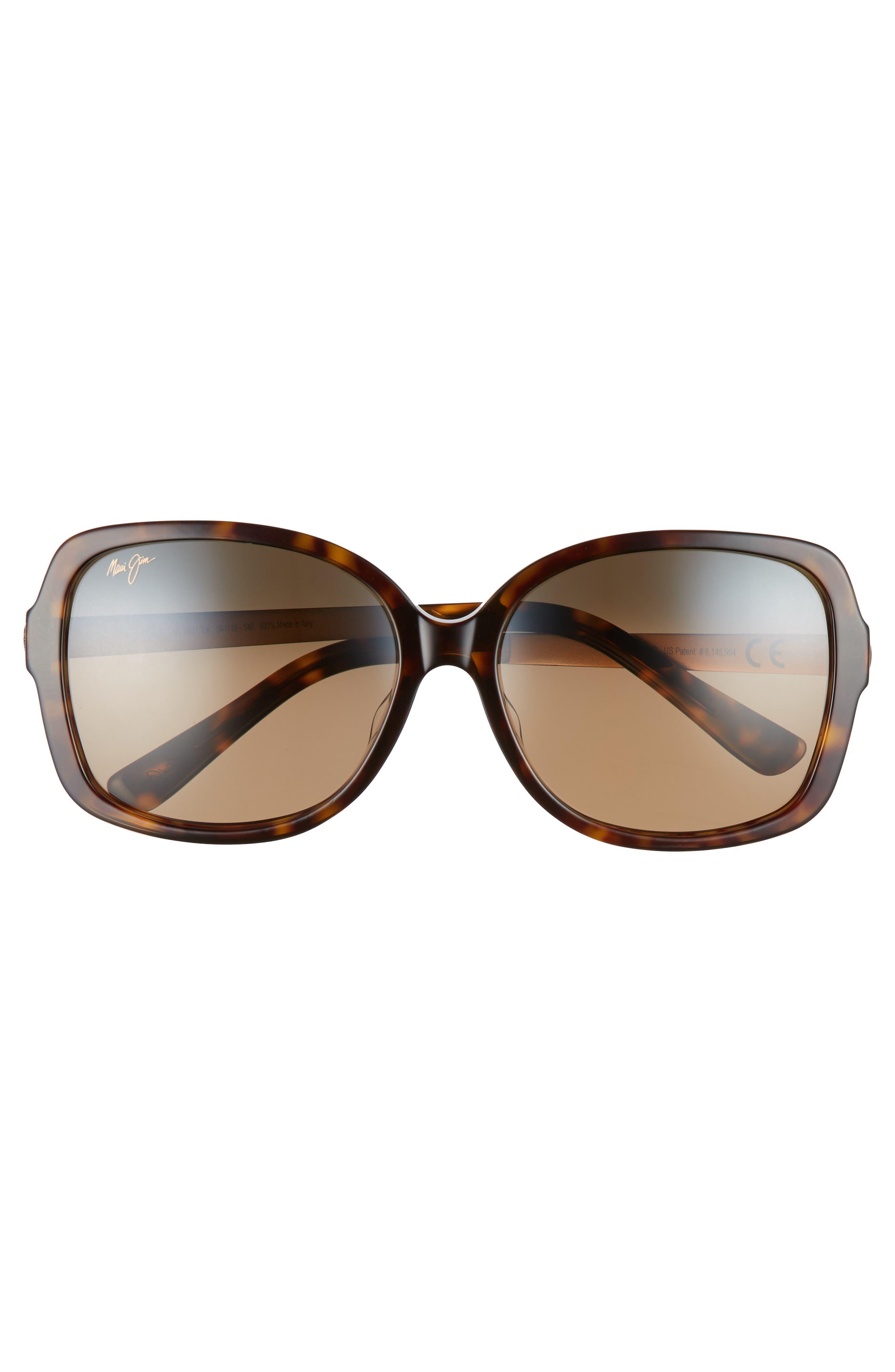 ,                             Melika 58mm Polarized Square Sunglasses,                             Alternate thumbnail 3, color,                             DARK TORTOISE GOLD/ BRONZE