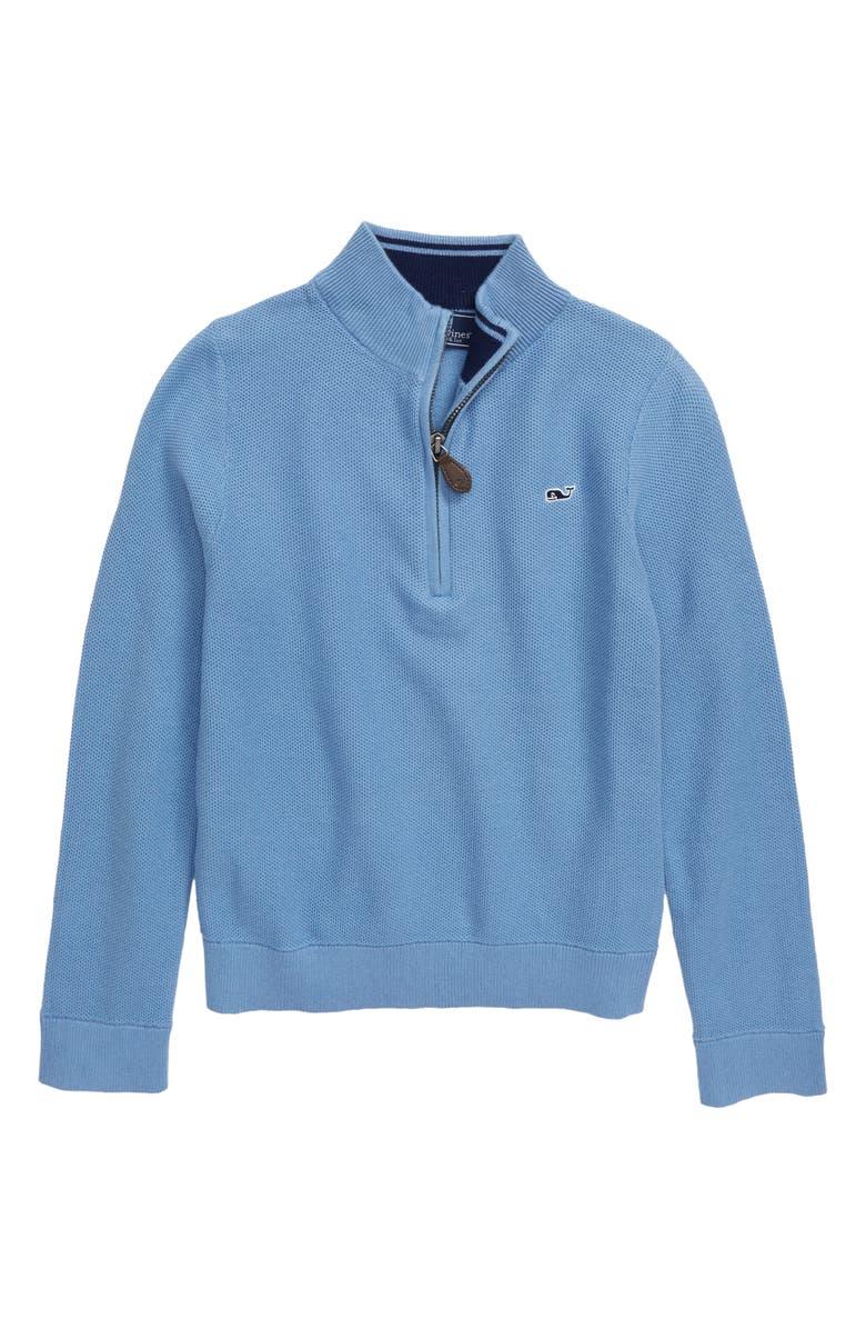 VINEYARD VINES Mock Neck Half Zip Pullover, Main, color, COASTLINE