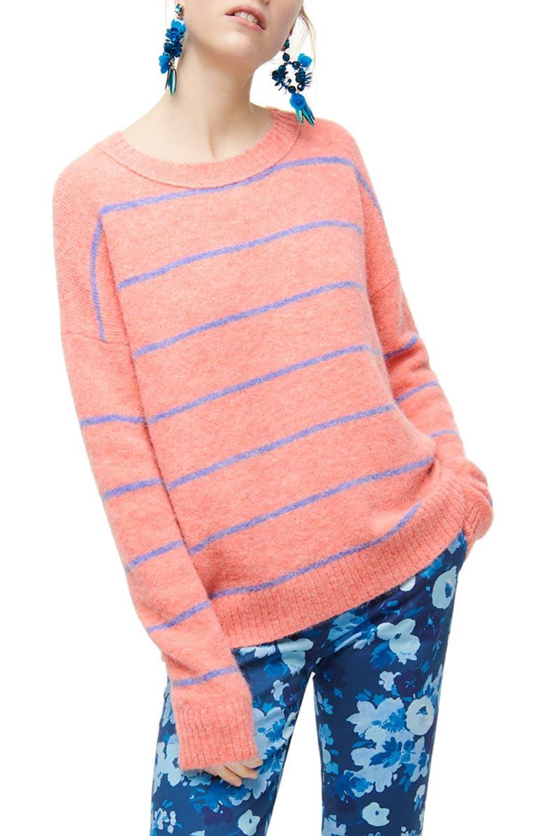 J.CREW Stripe Crewneck Sweater, Main, color, HEATHER ROSE/ FRENCH BLUE
