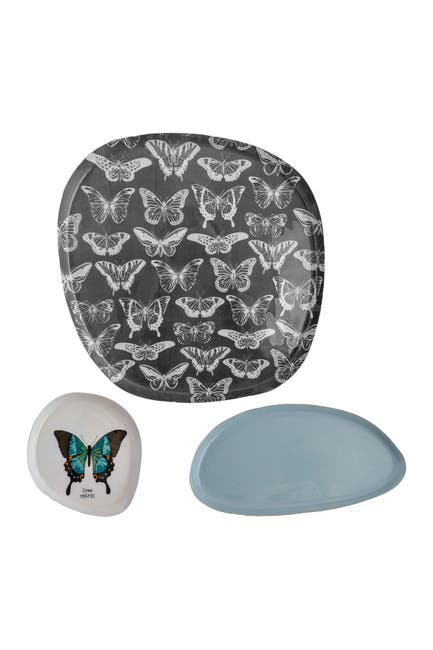 Image of Karma Gifts Enamel Tray - Butterfly - Set of 3