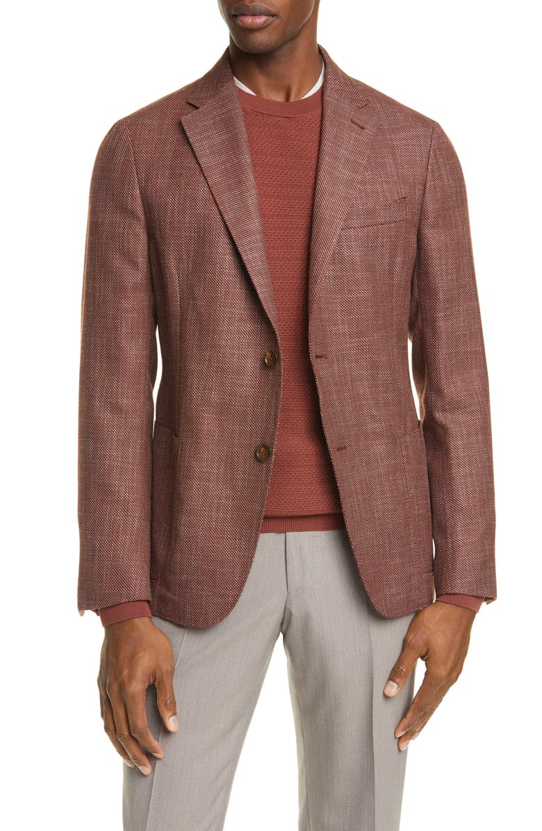 ERMENEGILDO ZEGNA Informale Classic Fit Mélange Stretch Wool Sport Coat, Main, color, RUST