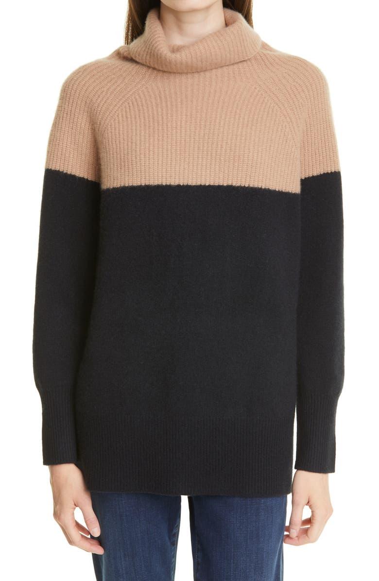 NORDSTROM SIGNATURE Colorblock Funnel Neck Cashmere Sweater, Main, color, CAMEL- BLACK
