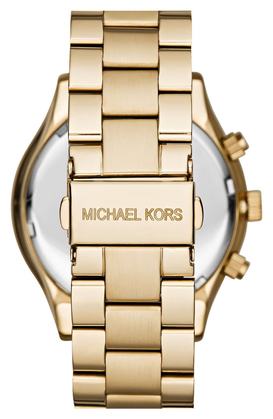 ,                             Michael Kors 'Slim Runway' Chronograph Bracelet Watch, 42mm,                             Alternate thumbnail 13, color,                             710