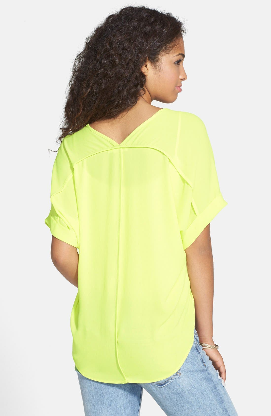 ,                             Lush Cuff Sleeve Woven Tee,                             Alternate thumbnail 173, color,                             723