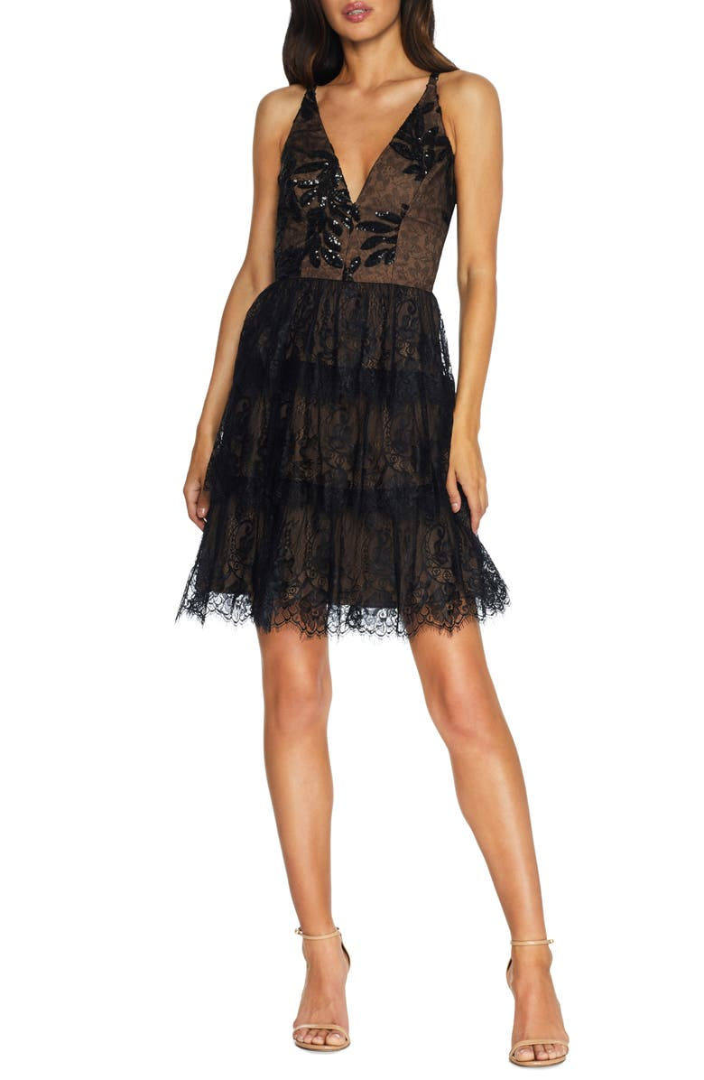 DRESS THE POPULATION Nellie Sequin Lace Fit & Flare Minidress, Main, color, BLACK/ NUDE
