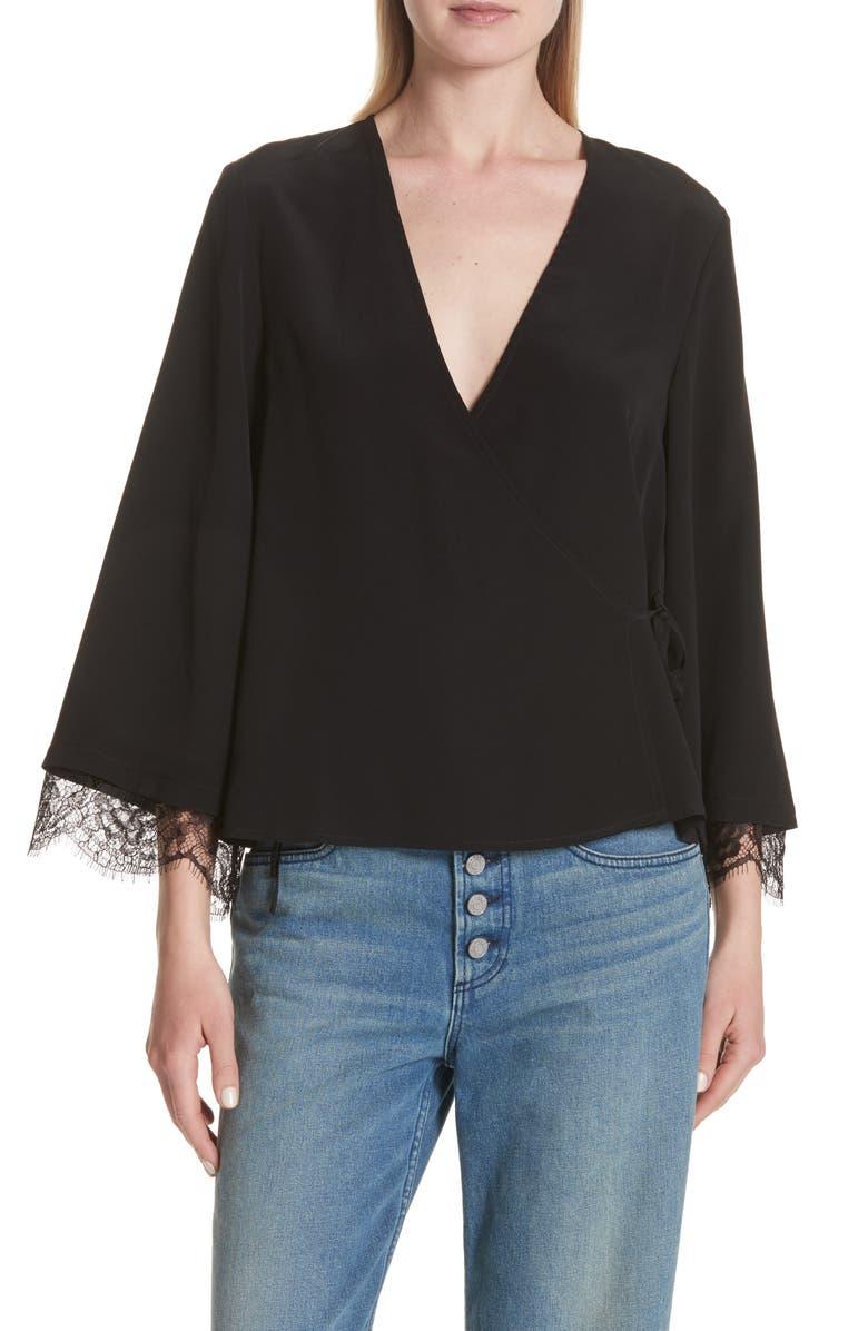 A.L.C. Riona Lace Trim Silk Wrap Blouse, Main, color, 001