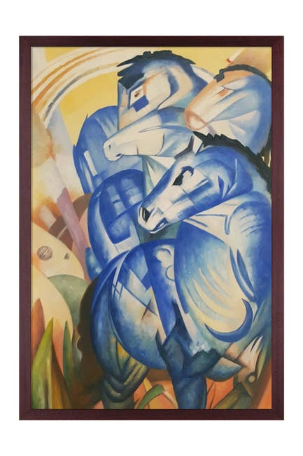 Image of Overstock Art The Tower of Blue Horses - Framed Oil Reproduction of an Original Painting by Franz Marc