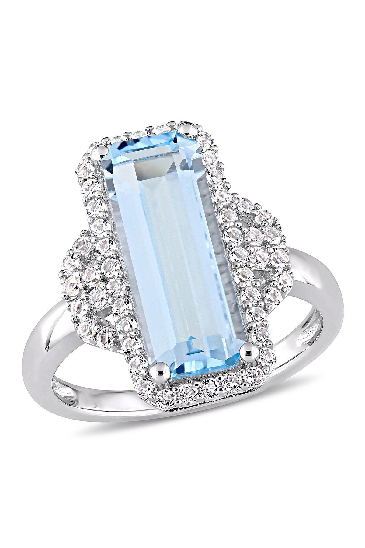 Image of Delmar Sterling Silver Sky Blue Emerald Cut Topaz & White Topaz Ring