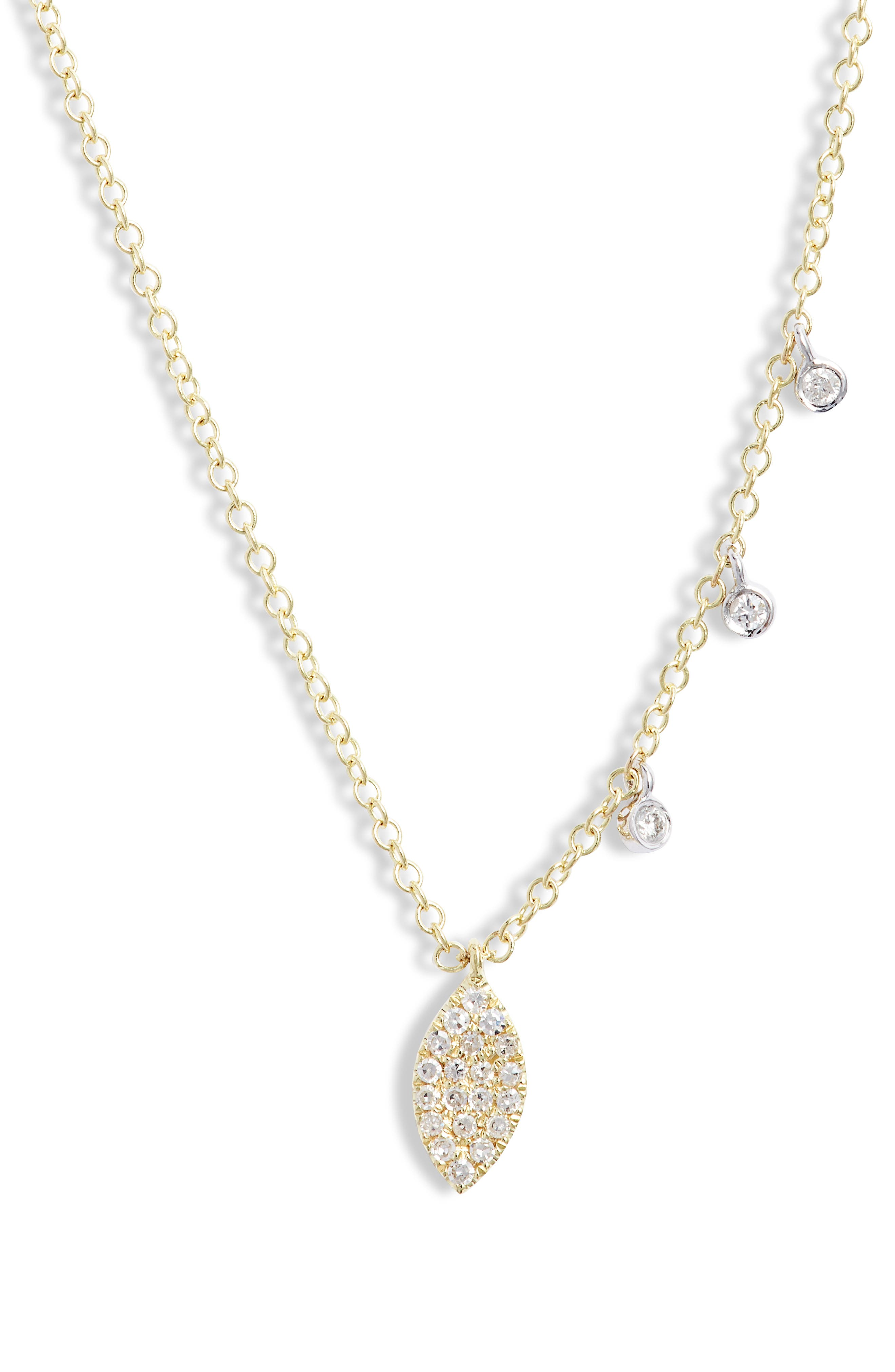 Pave Diamond Marquise Necklace