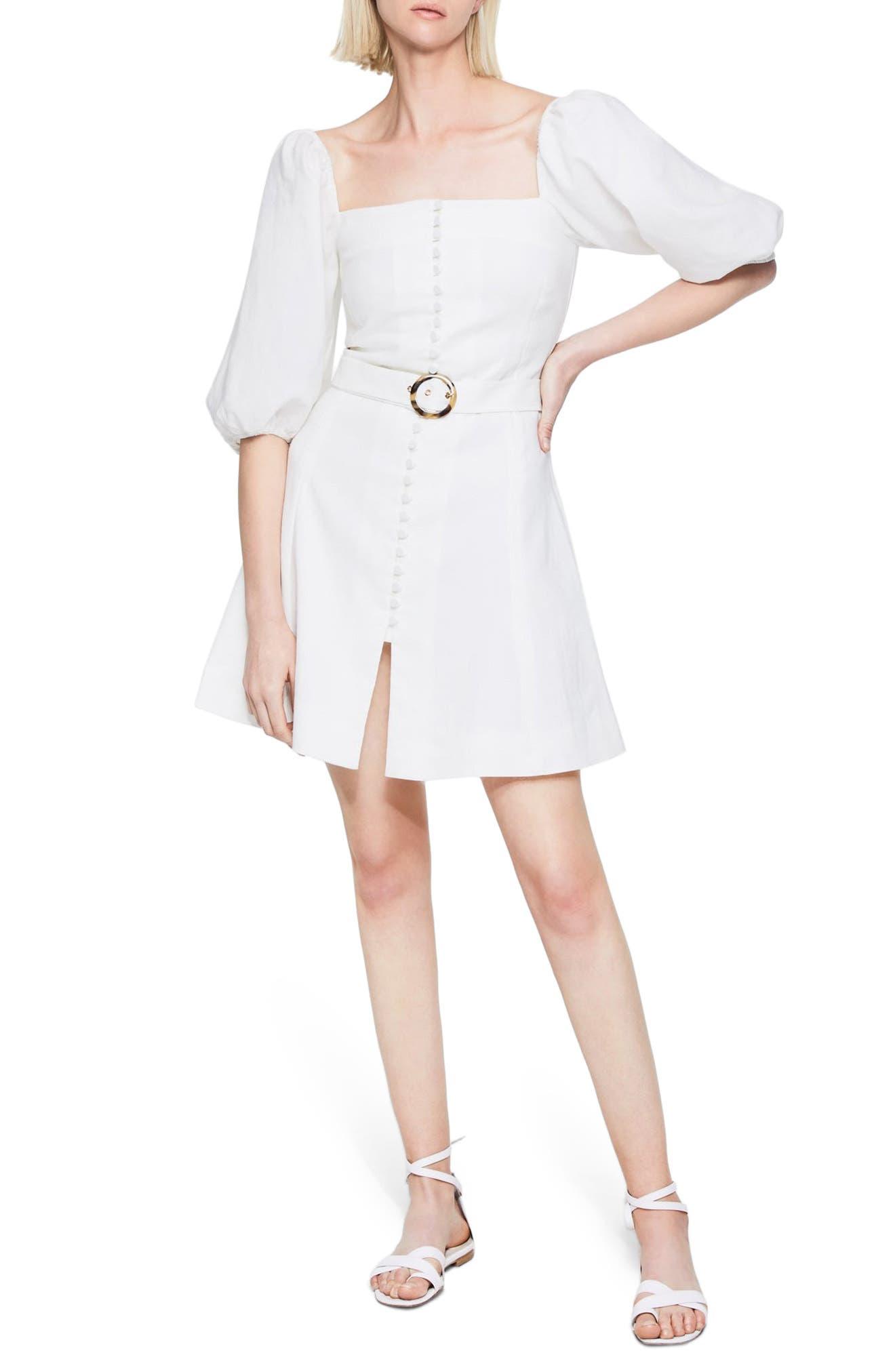 Jonathan Simkhai Emery Puff Sleeve Linen Blend Dress | Nordstrom