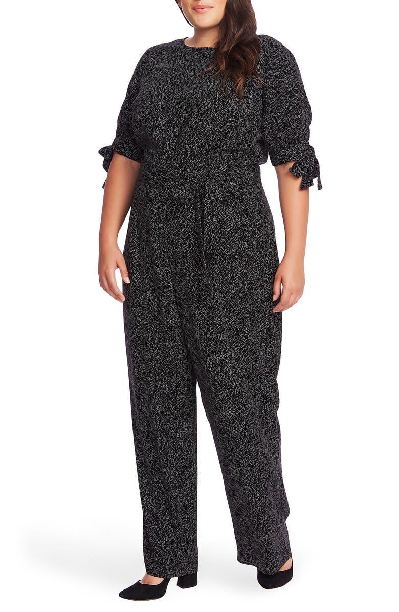 CECE Cosmic Dot Puff Sleeve Jumpsuit, Main, color, RICH BLACK