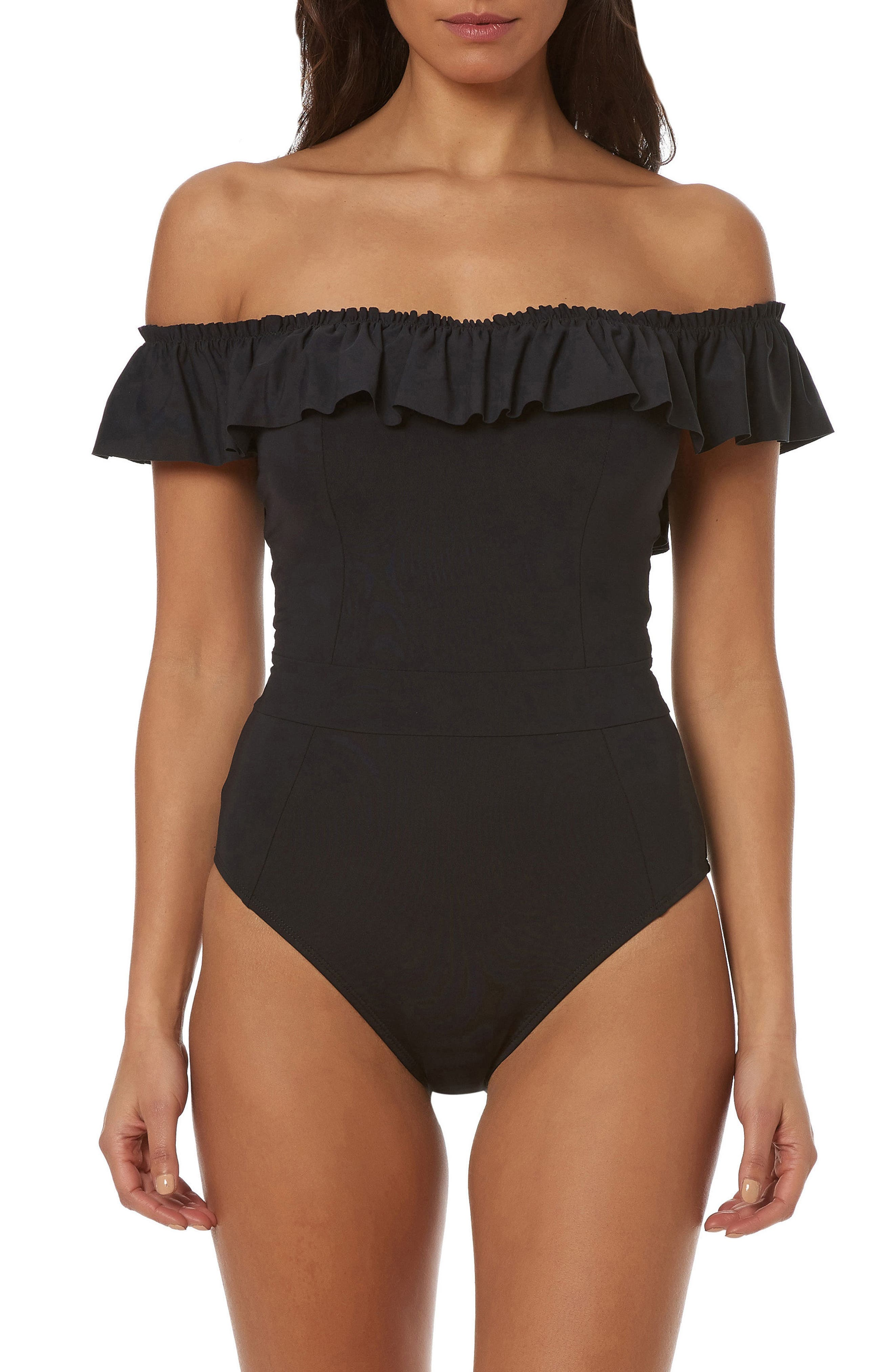 Bleu by Rod Beattie Off-The-Shoulder Ruffled One Piece Bathing Suit