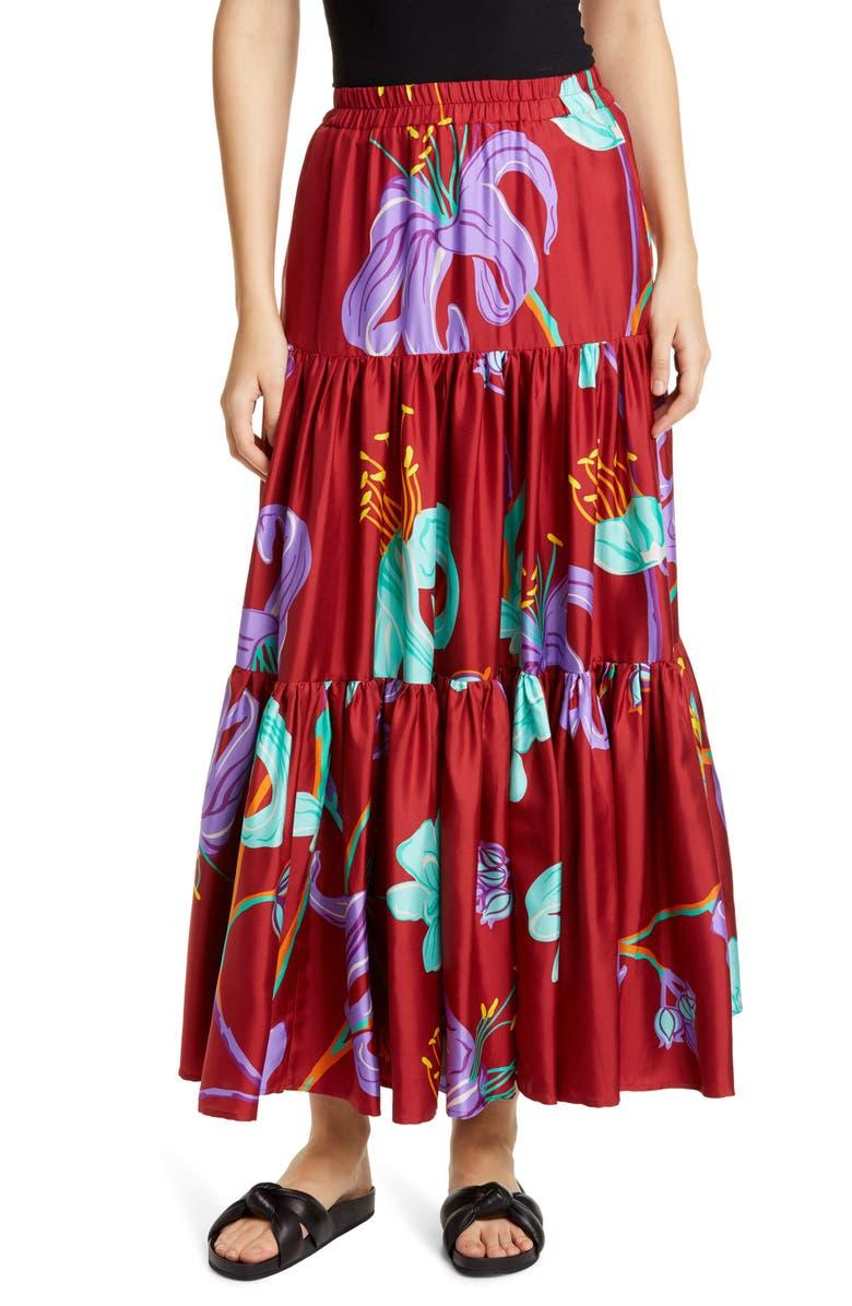 La DoubleJ Big Print Convertible Tiered Silk Maxi Skirt