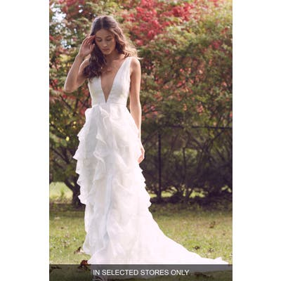 Marchesa Notte Madison Ruffle Wedding Dress, Size IN STORE ONLY - Ivory