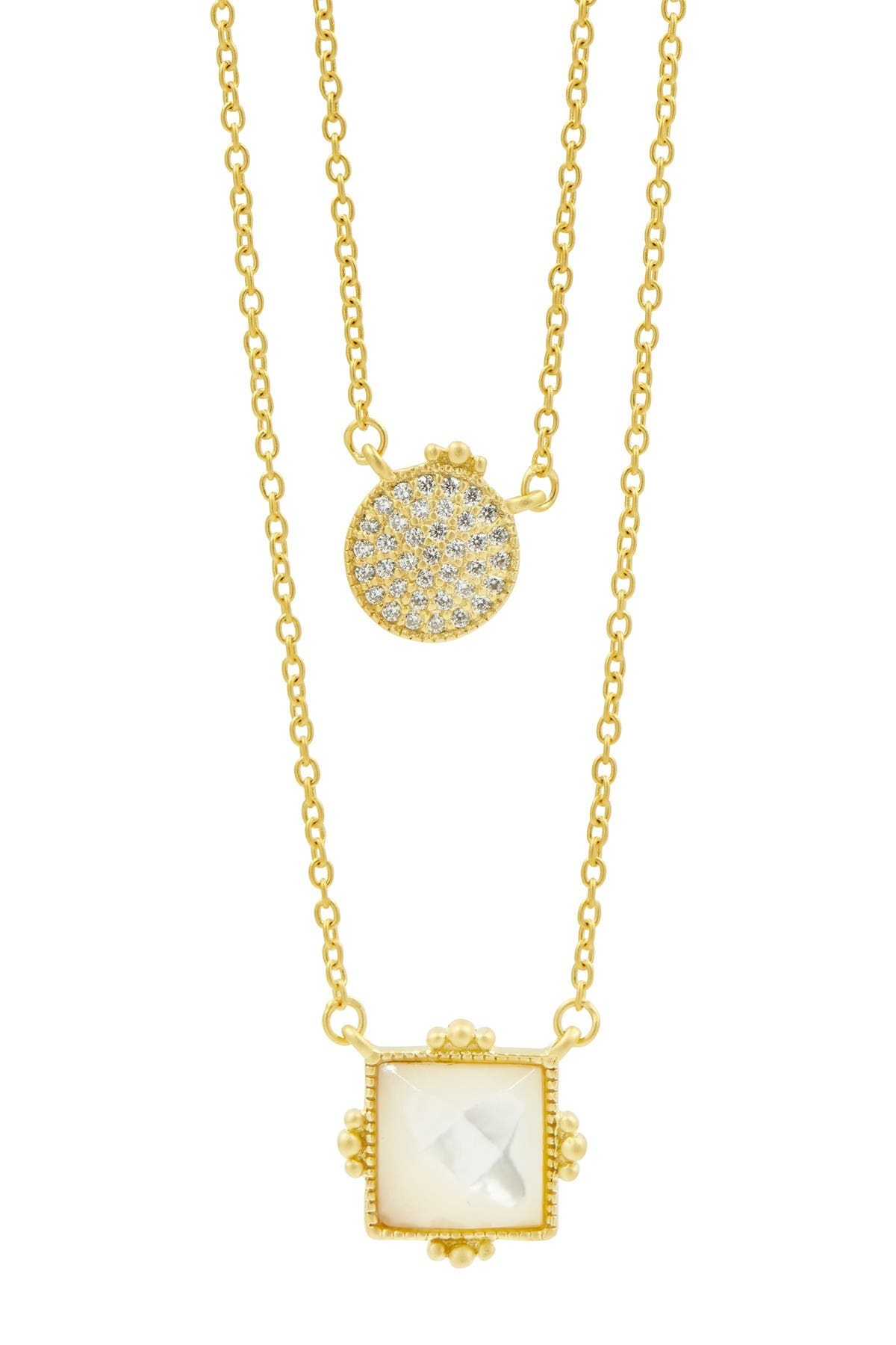 Image of Freida Rothman 14K Gold Plated Sterling Silver Amazonian Mother of Pearl & CZ Allure Double Pendant Necklace