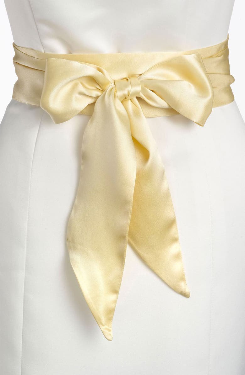 L. ERICKSON Silk Charmeuse Obi Sash, Main, color, BUTTER
