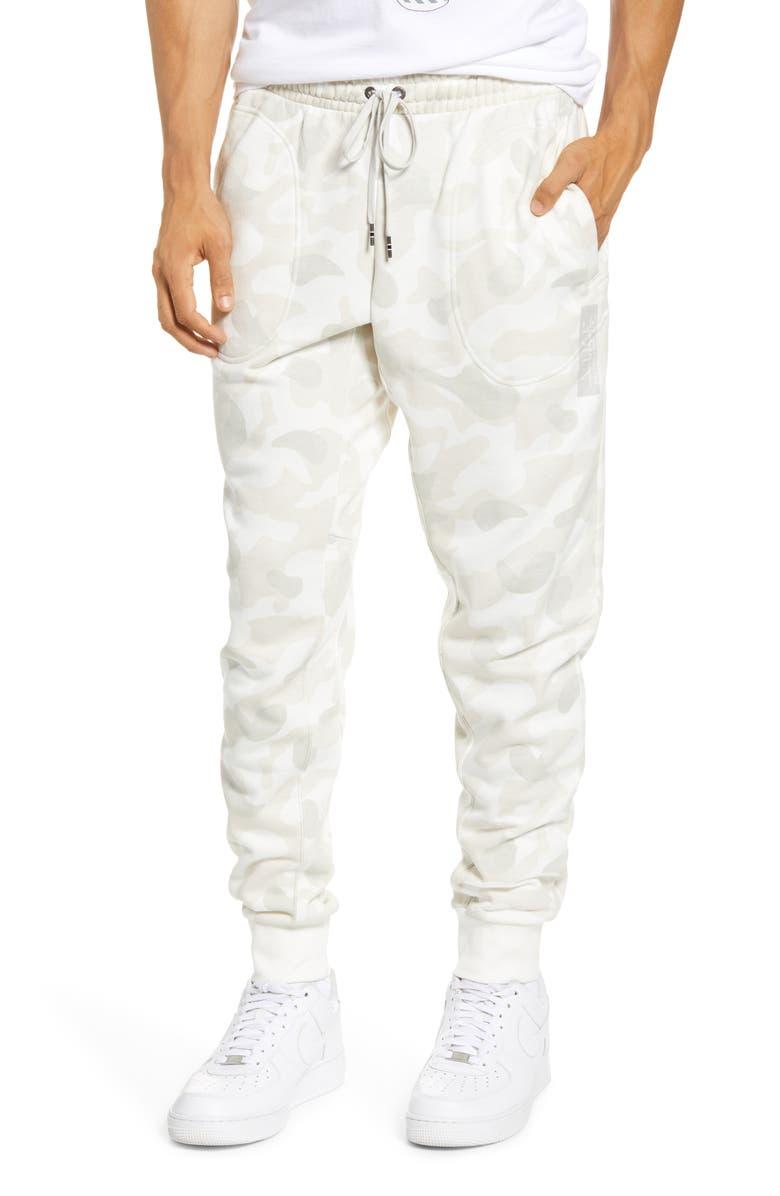 NIKE Sportswear Print French Terry Sweatpants, Main, color, SAIL/ LIGHT BONE/ WHITE