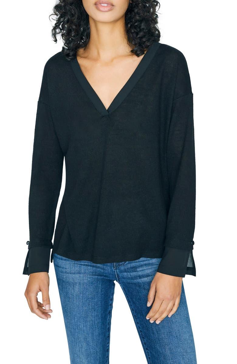 SANCTUARY Gina Long Sleeve Mixed Media Tee, Main, color, BLACK