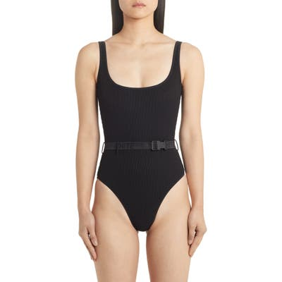 Off-White Belted One-Piece Swimsuit, US / 40 IT - Black