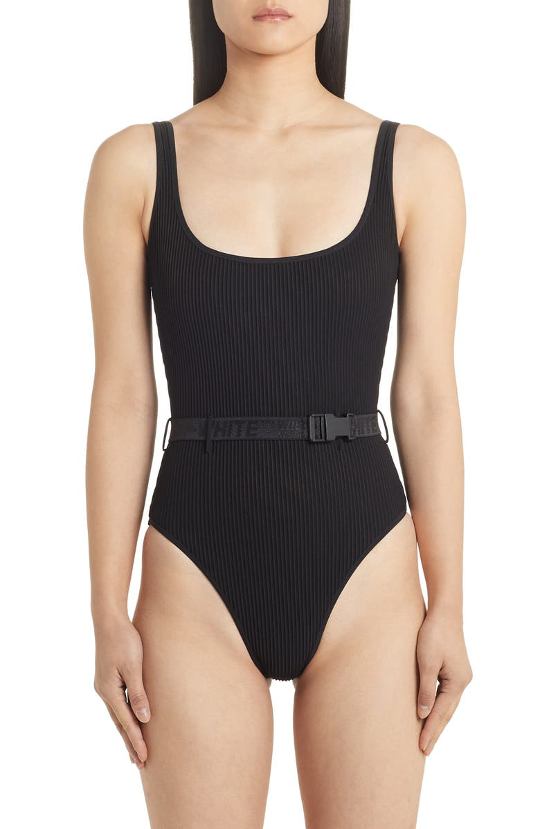 OFF-WHITE Belted One-Piece Swimsuit, Main, color, 001