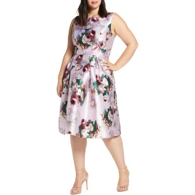 Plus Size Chi Chi London Marilyn Floral Print Satin Cocktail Dress, Pink