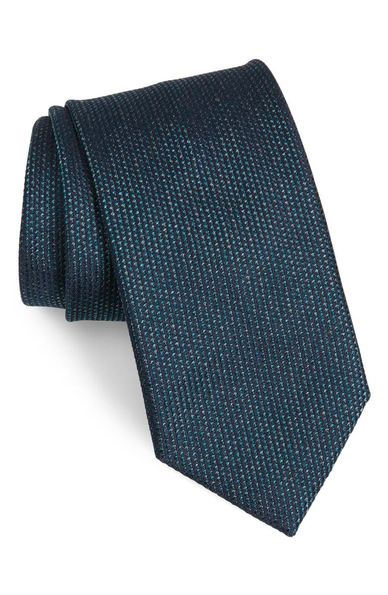BRIONI Geometric Silk Tie, Main, color, GREEN