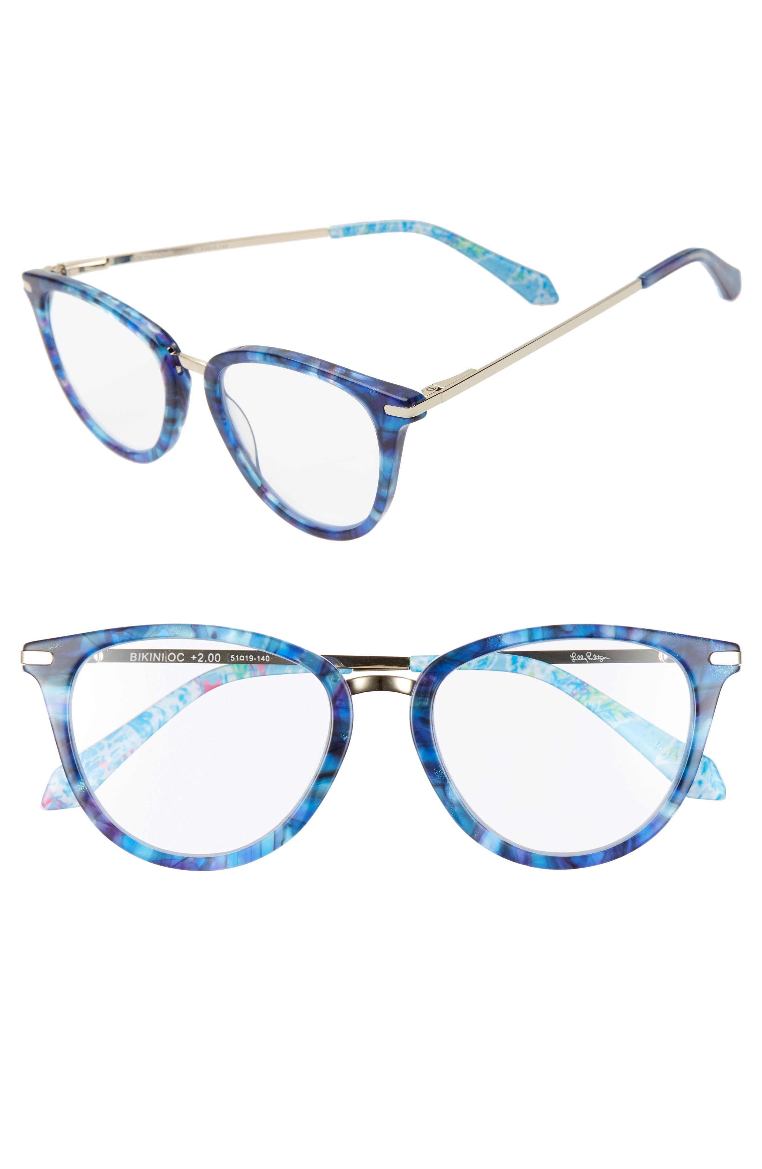 Grab a book and get ready for a day lounging seaside with these reading glasses in a classically chic silhouette. Style Name: Lilly Pulitzer Bakini 51mm Reading Glasses. Style Number: 5984855. Available in stores.