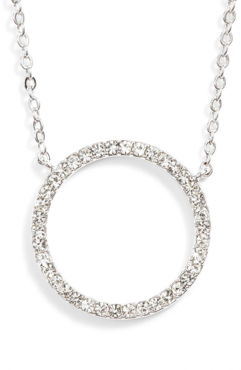 NORDSTROM Pavé Open Circle Pendant Necklace, Main, color, CLEAR- SILVER