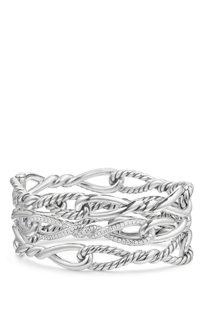 DAVID YURMAN Continuance Multi Row Cuff Bracelet with Diamonds, Main, color, SILVER/ DIAMOND