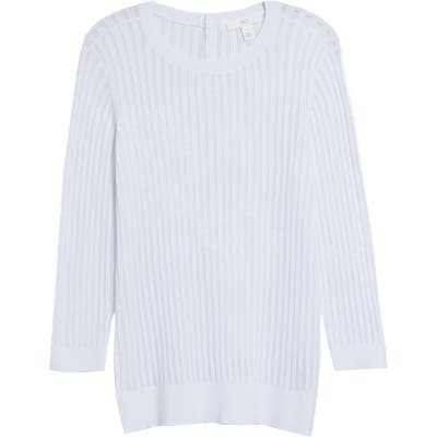1901 Button Back Pointelle Sweater, White