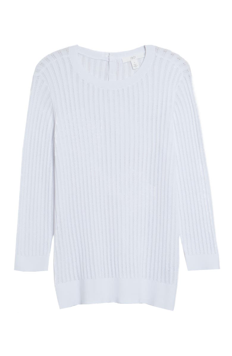 1901 Button Back Pointelle Sweater, Main, color, WHITE