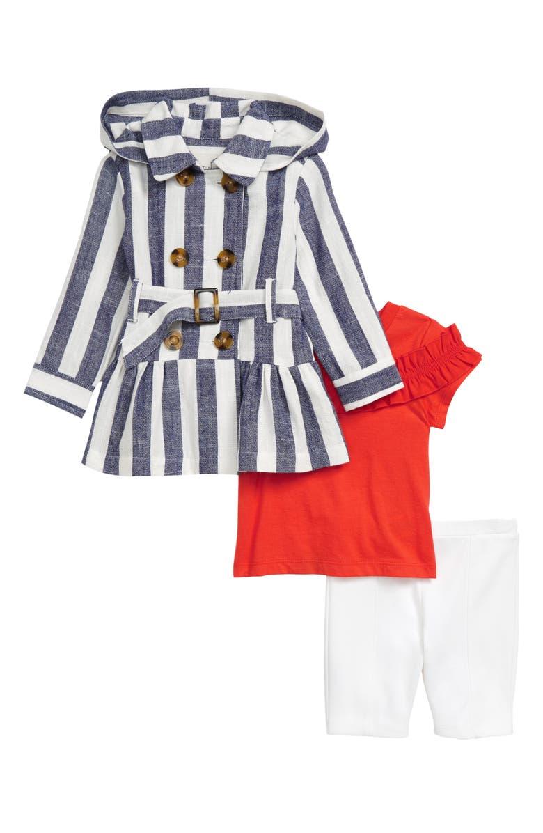 HABITUAL Stripe Trench Coat, Top & Pants Set, Main, color, INDIGO