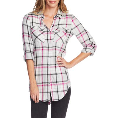 Vince Camuto Plaid Tunic, Pink