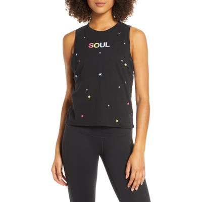 Soul By Soulcycle Rainbow Stars & Soul Muscle Tank, Black