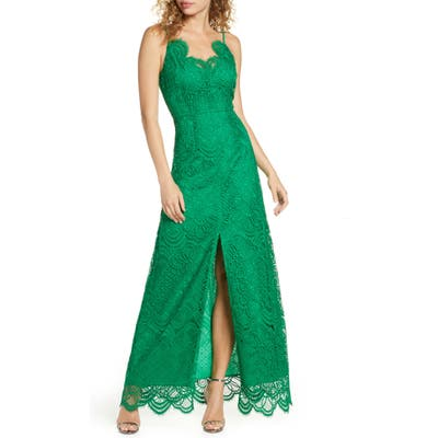 Foxiedox Embroidered Lace Evening Gown, Green