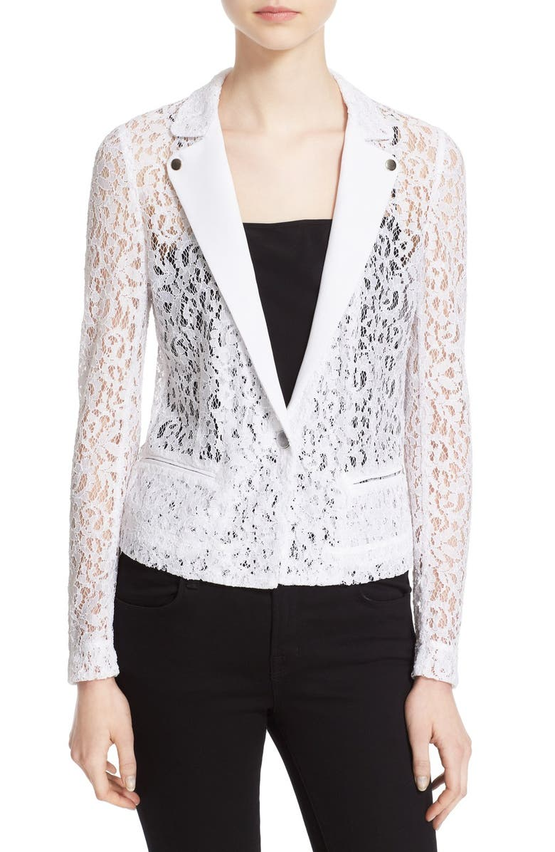 THE KOOPLES One-Button Lace Jacket, Main, color, 100