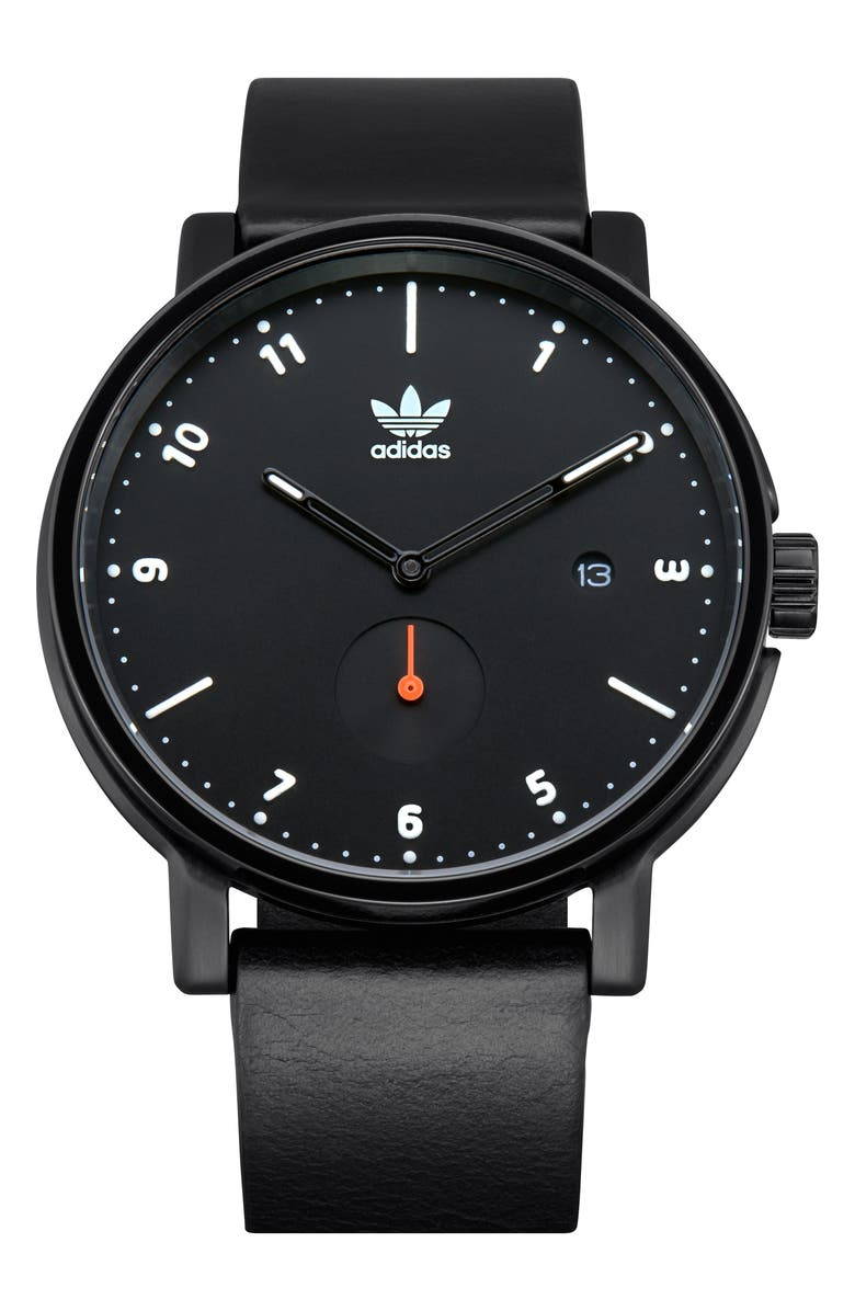 ADIDAS District Leather Strap Watch, 40mm, Main, color, 001