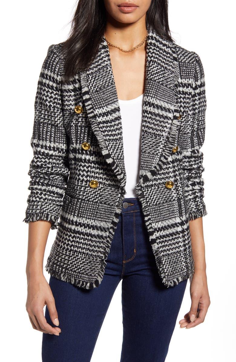 HALOGEN<SUP>®</SUP> Double Breasted Plaid Tweed Blazer, Main, color, BLACK- IVORY TWEED