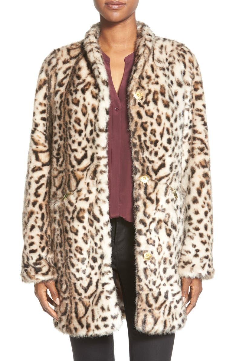 VIA SPIGA Cheetah Print Faux Fur Coat, Main, color, 200
