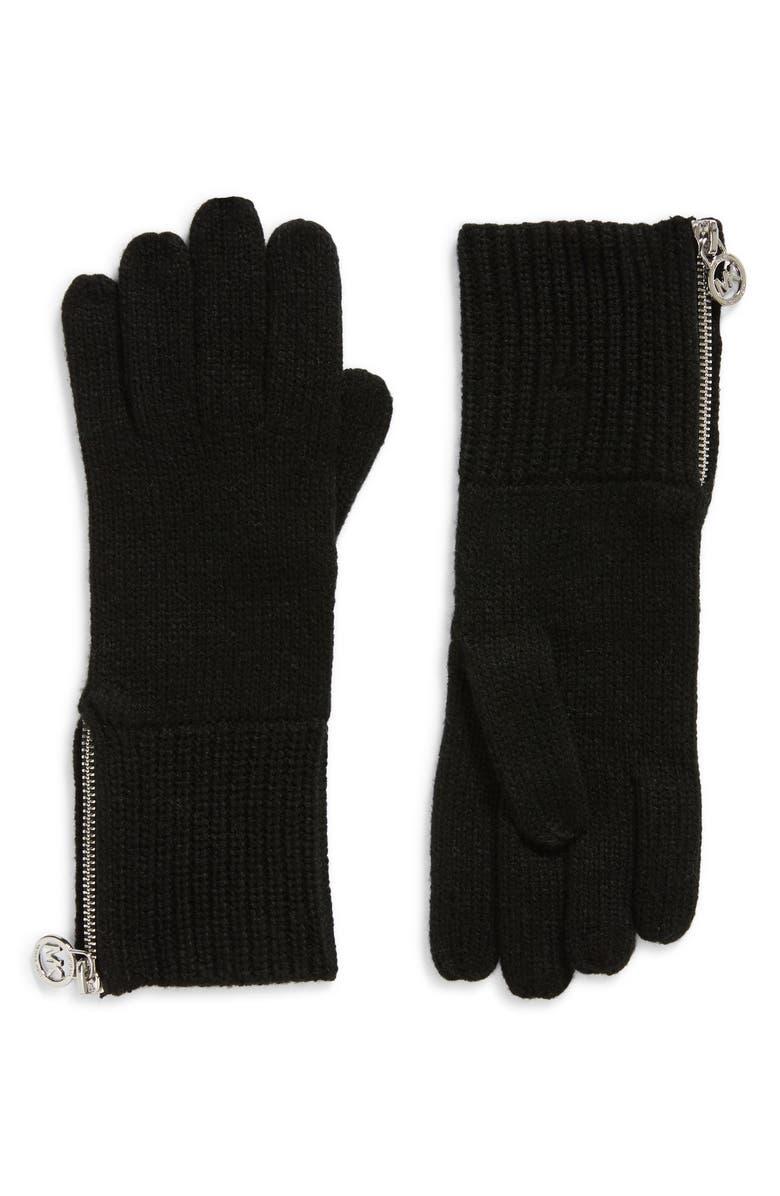 MICHAEL MICHAEL KORS Shaker Knit Zip Gloves, Main, color, 040